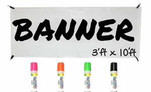 Glass Chalk Banner Kit - White with Neon Markers